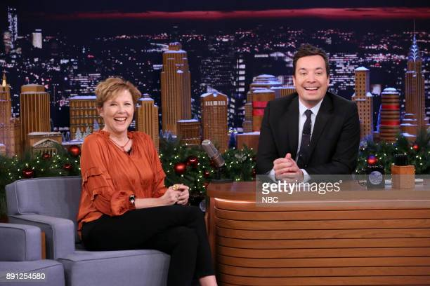 Actress Annette Bening during an interview with host Jimmy Fallon on December 12 2017