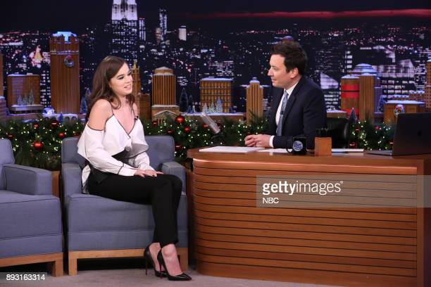 Singer Hailee Steinfeld during an interview with host Jimmy Fallon on December 14 2017