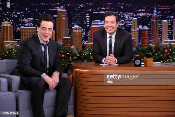 Actor Benicio Del Toro during an interview with host Jimmy Fallon on December 15 2017
