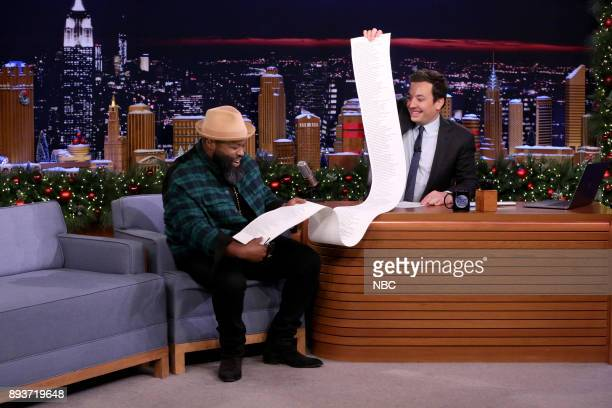 Tariq Black Thought Trotter during an interview with host Jimmy Fallon on December 15 2017