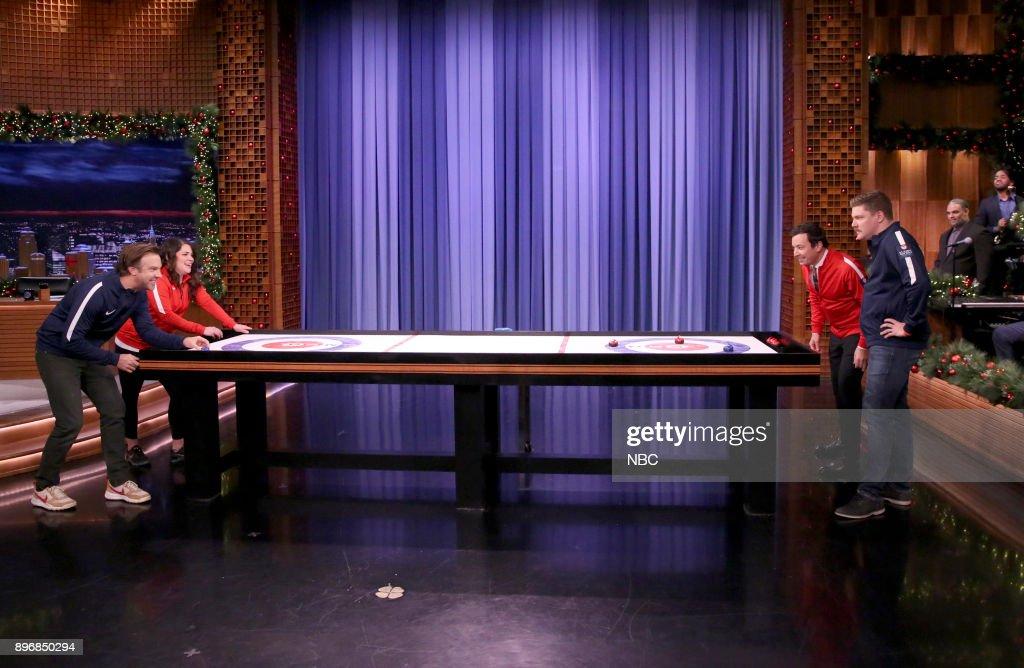 Actor Jason Sudeikis, Becca Hamilton, host Jimmy Fallon, Matt Hamilton during 'Bar Curling' on December 21, 2017 --