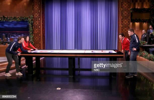 Actor Jason Sudeikis Becca Hamilton host Jimmy Fallon Matt Hamilton during 'Bar Curling' on December 21 2017