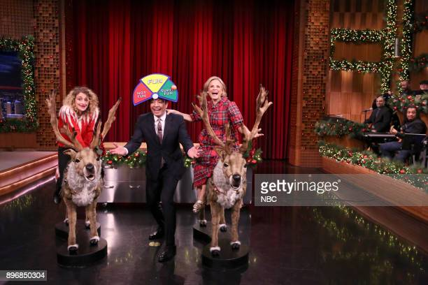 Tonight Show's Jo Firestone Actress/Comedian Amy Sedaris and Host Jimmy Fallon during 'Toy Demo' on December 21 2017