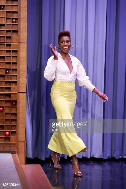 Actress Issa Rae arrives for an interview on December 22 2017