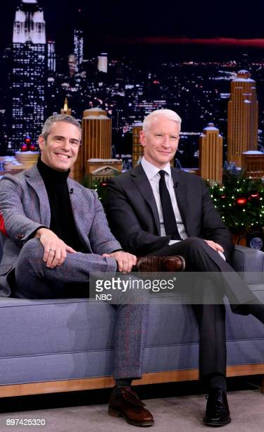 Television Personalities Andy Cohen and Anderson Cooper during an interview on December 22 2017