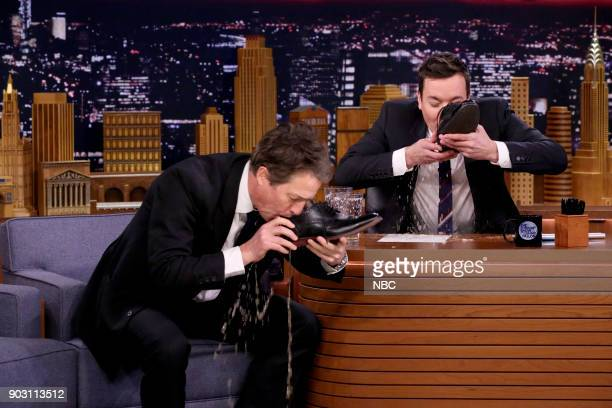 Actor Hugh Grant during an interview with host Jimmy Fallon on January 9 2018