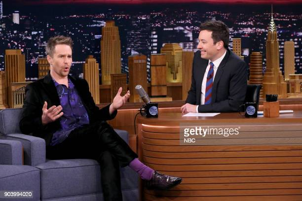 Actor Sam Rockwell during an interview with host Jimmy Fallon on January 11 2018