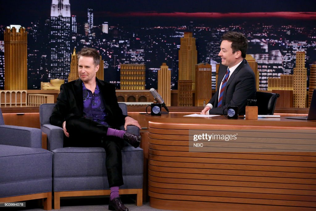 Actor Sam Rockwell during an interview with host Jimmy Fallon on January 11, 2018 --