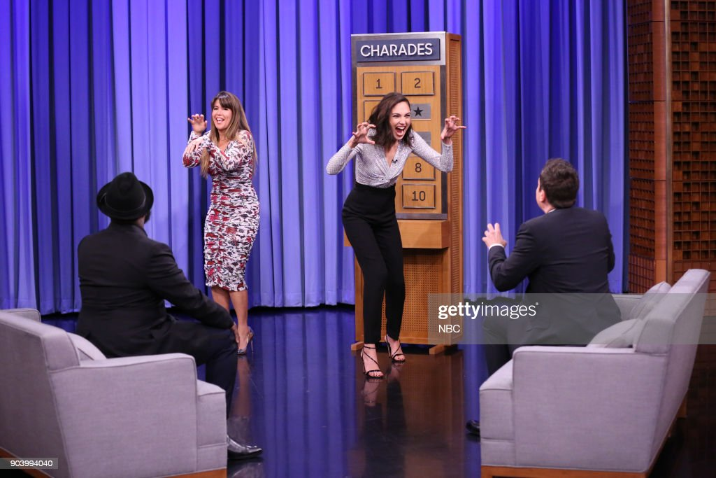 Director Patty Jenkins with Actress Gal Gadot playing 'Charades' on January 11, 2018 --