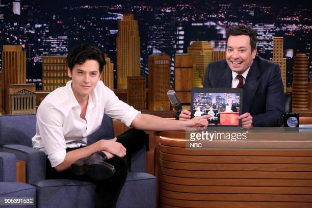 Actor Cole Sprouse during an interview with host Jimmy Fallon on January 15 2018