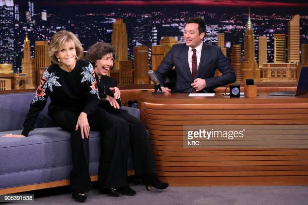 Actresses Jane Fonda and Lily Tomlin during an interview with host Jimmy Fallon on January 15 2018