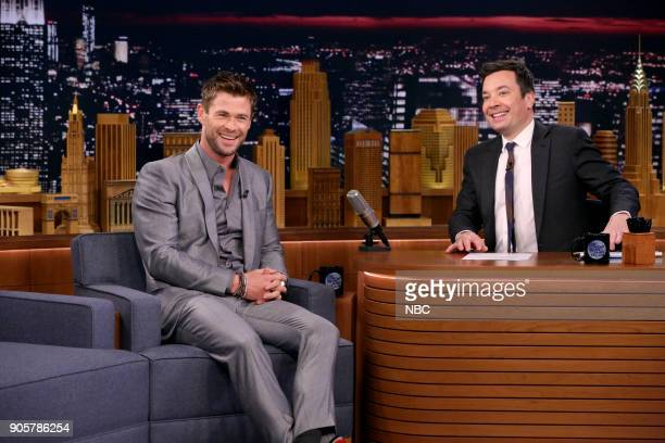 Actor Chris Hemsworth during an interview with host Jimmy Fallon on January 16 2018