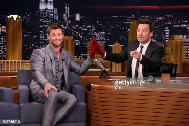 Actor Chris Hemsworth plays 'The Jinx Challenge' with host Jimmy Fallon on January 16 2018