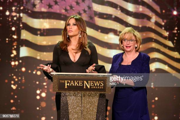 Gina Gershon as Melania Trump Rachel Dratch as Betsy DeVos during 'The Fake News Awards' on January 16 2018