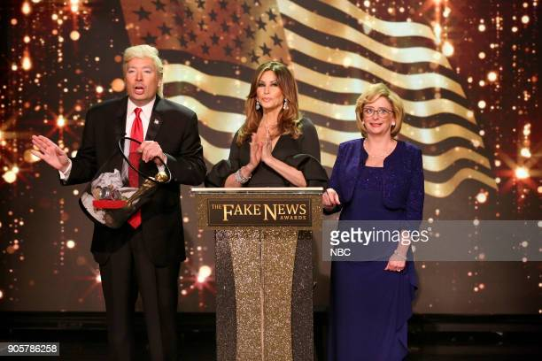 Jimmy Fallon as President Donald Trump Gina Gershon as Melania Trump Rachel Dratch as Betsy DeVos during 'The Fake News Awards' on January 16 2018