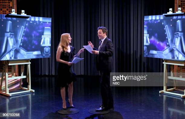 Actress Jessica Chastain with host Jimmy Fallon during ' Role Swap' on January 18 2018