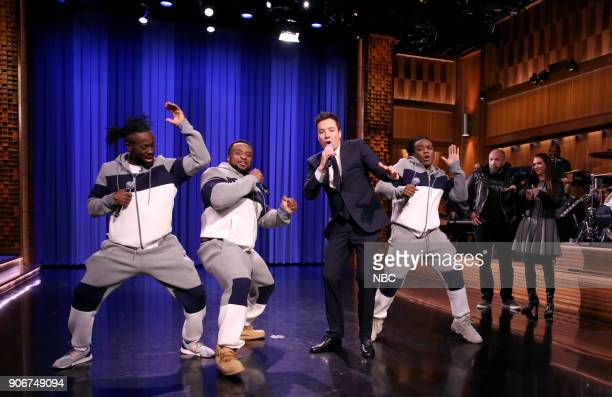 Kofi Kingston Big E and Xavier Woods of The New Day perform with host Jimmy Fallon during 'WWE Tag Team Lip Sync Battle' on January 18 2018