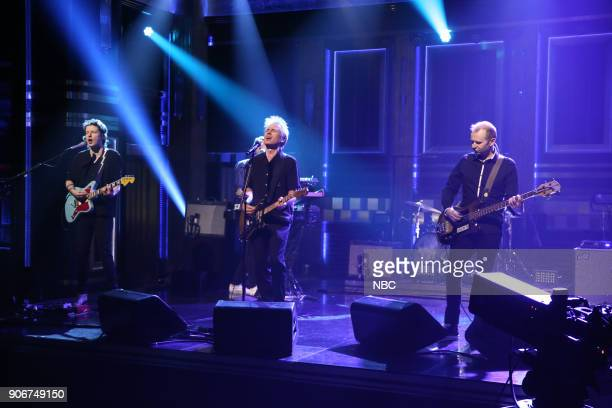 Musical Guests Dino Bardot Julian Corrie Alex Kapranos Paul Thomson Bob Hardy of Franz Ferdinand performs 'Always Ascending' January 18 2018
