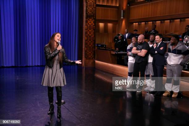 Stephanie McMahon performs during 'WWE Tag Team Lip Sync Battle' on January 18 2018