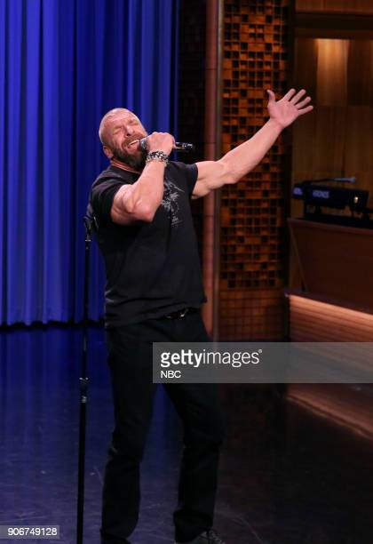 Triple H performs during 'WWE Tag Team Lip Sync Battle' on January 18 2018
