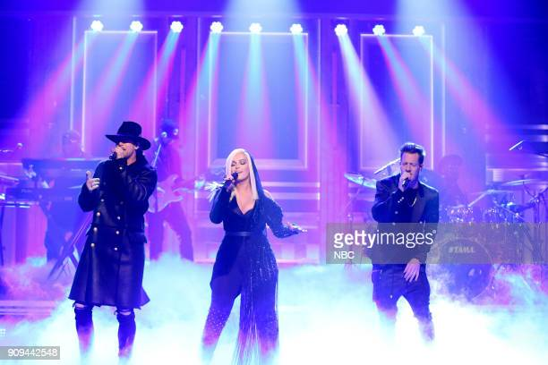Musical Guests Tyler Hubbard Brian Kelley of Florida Georgia Line performs Meant to Be with Bebe Rexha on January 23 2018
