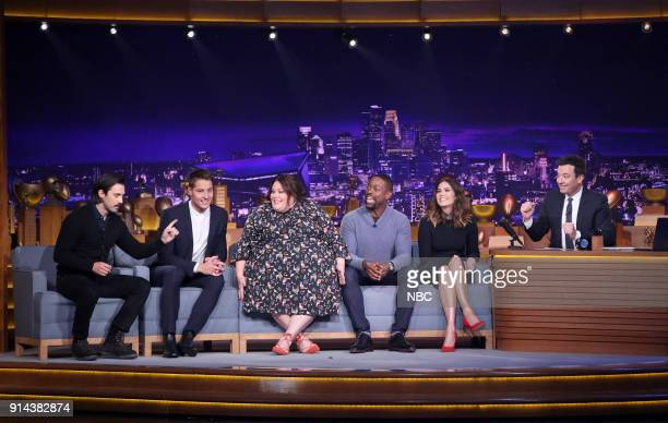 The cast of 'This Is Us' Milo Ventimiglia Justin Hartley Chrissy Metz Sterling K Brown Mandy Moore during an interview with Host Jimmy Fallon from...