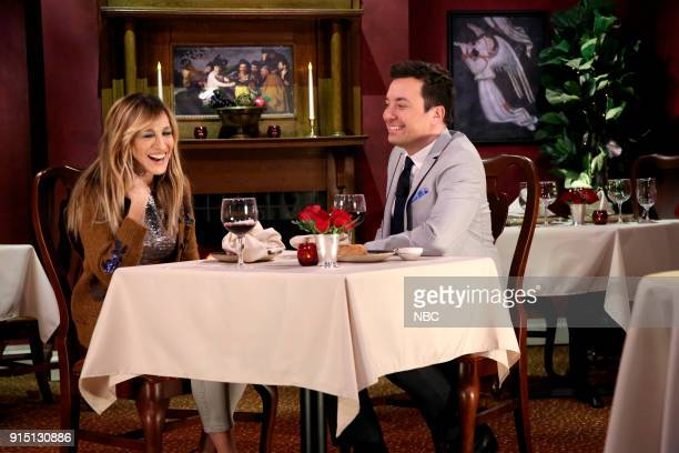Actress Sarah Jessica Parker with host Jimmy Fallon during 'Mad Lib Theater' on February 6 2018
