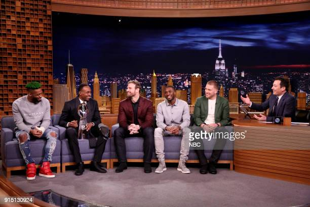 Super Bowl LII Champions the Philadelphia Eagles Jalen Mills Alshon Jeffery Chris Long Nelson Agholor Zach Ertz during an interview with host Jimmy...