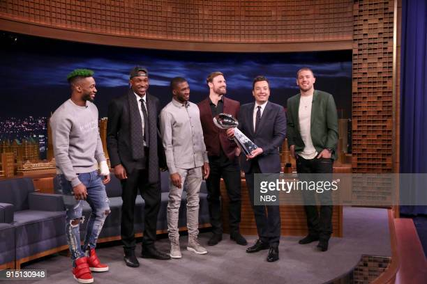 Super Bowl LII Champions the Philadelphia Eagles team Jalen Mills Alshon Jeffery Nelson Agholor Chris Long Zach Ertz during an interview with host...