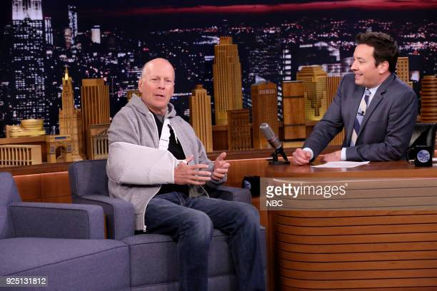 Actor Bruce Willis during an interview with host Jimmy Fallon on February 27 2018