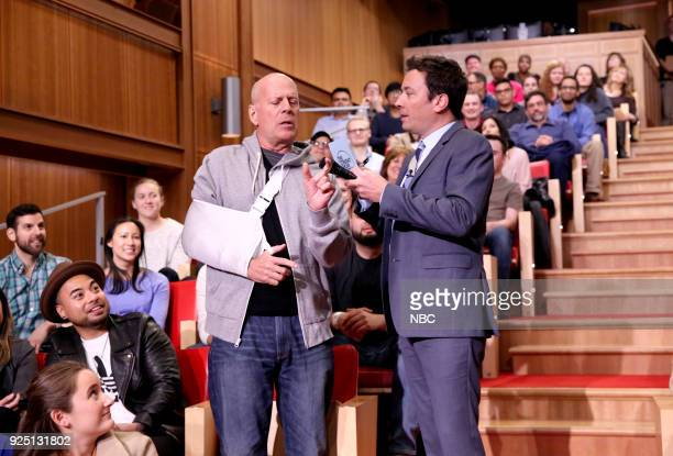 Actor Bruce Willis with host Jimmy Fallon during Freestylin' with The Roots on February 27 2018