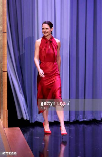Actress Katie Holmes arrives for an interview on March 5 2018