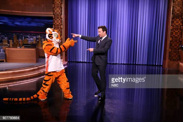 Clemson's mascot the Tiger with Host Jimmy Fallon on March 5 2018