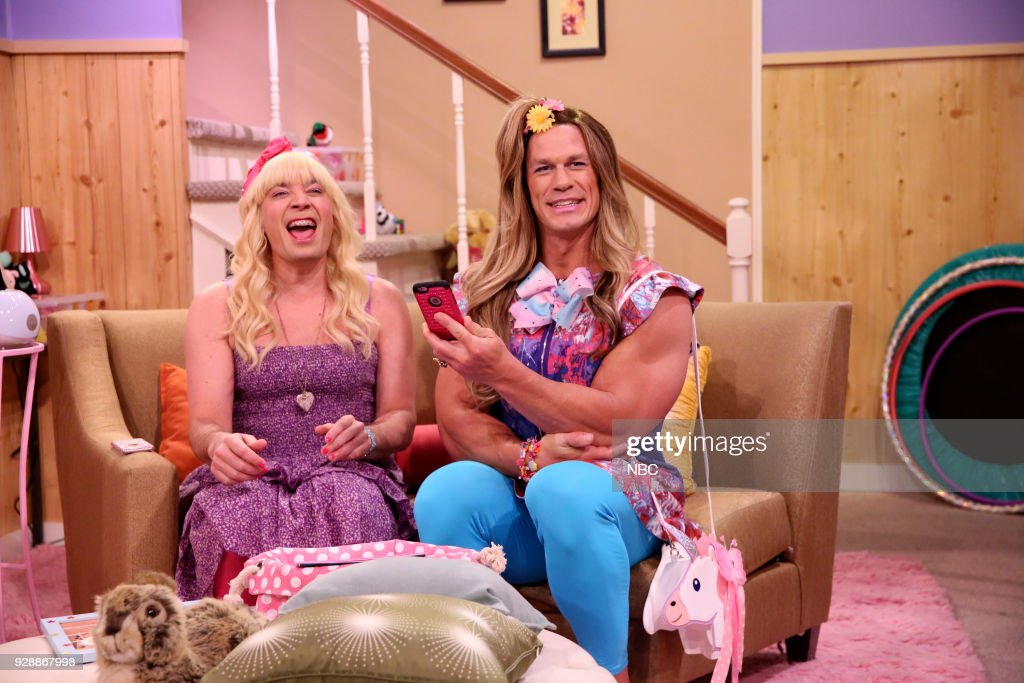 Jimmy Fallon as Sara with John Cena during 'Ew!' on March 7, 2018 --