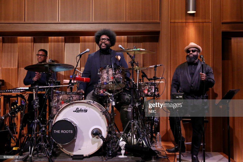 "Stro Elliot, Ahmir 'Questlove' Thompson, Tariq ""Black Thought"" Trotter during 'Chit-Chat' on March 7, 2018 --"