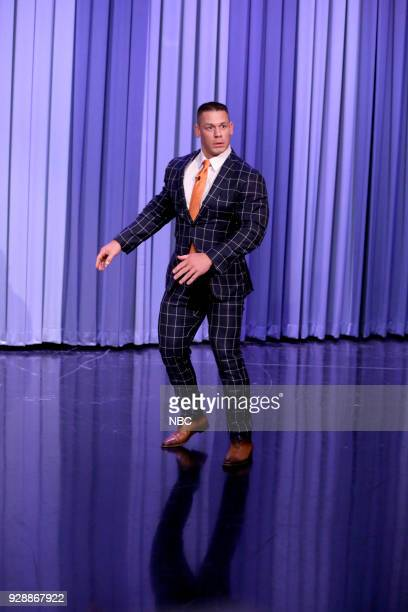 Wrestler/Actor John Cena arrives for an interview on March 7 2018