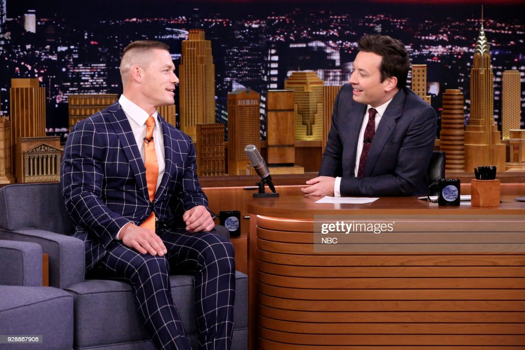 Wrestler/Actor John Cena during an interview with host Jimmy Fallon on March 7, 2018 --