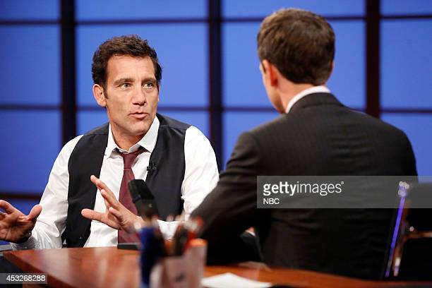 Actor Clive Owen during an interview with host Seth Meyers on August 5 2014