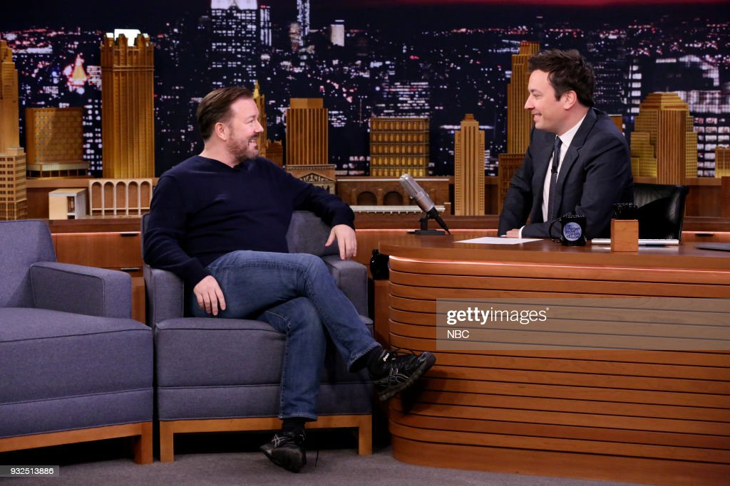 Comedian Ricky Gervais during an interview with host Jimmy Fallon on March 13, 2018 --