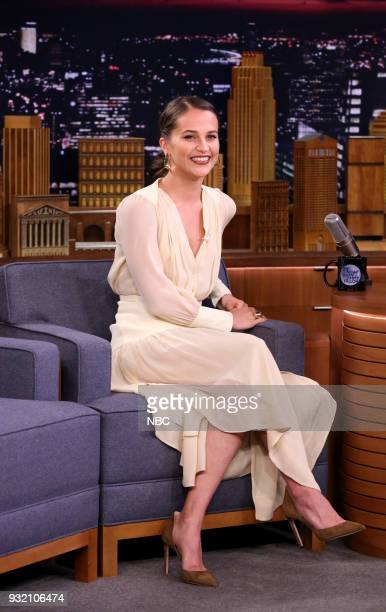 Actress Alicia Vikander during an interview on March 14 2018