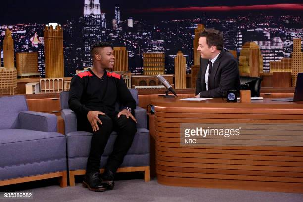 Actor John Boyega during an interview with host Jimmy Fallon on March 20 2018