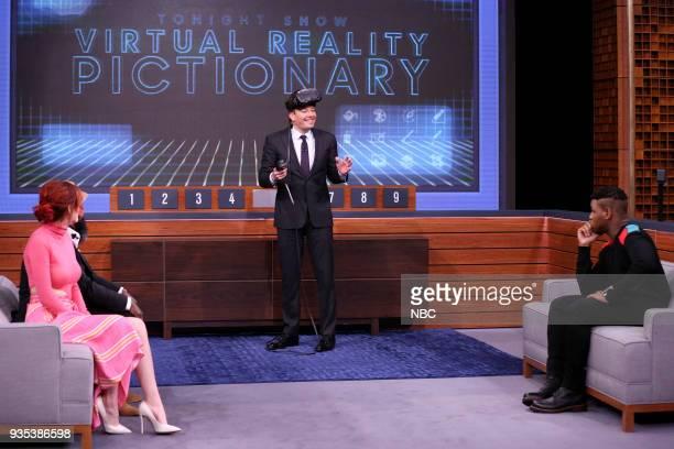 Bella Thorne Jimmy Fallon John Boyega during 'Virtual Reality Pictionary' on March 20 2018