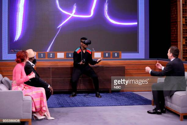 Bella Thorne Tariq 'Black Thought' Trotter John Boyega Jimmy Fallon during 'Virtual Reality Pictionary' on March 20 2018