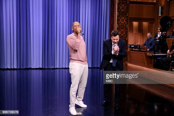Actor Will Smith performs a 'Sitcom Remix' with host Jimmy Fallon on March 22 2018
