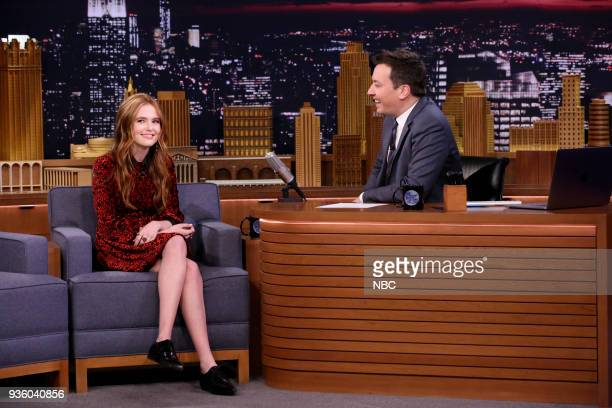 Actress Zoey Deutch during an interview with host Jimmy Fallon on March 21 2018