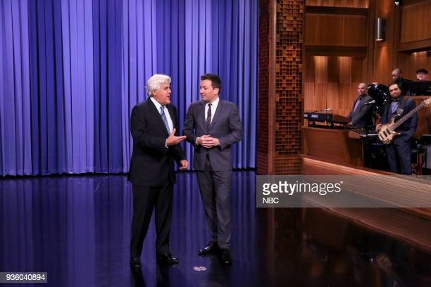 Comedian Jay Leno with host Jimmy Fallon during the Opening Monologue on March 21 2018