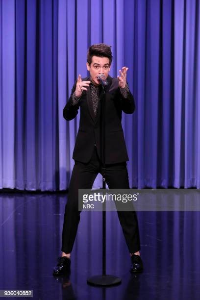 Singer Brendon Urie during 'Suggestion Box' on March 21 2018