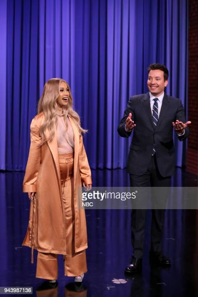 CoHost Cardi B with Host Jimmy Fallon during the opening monologue on April 9 2018