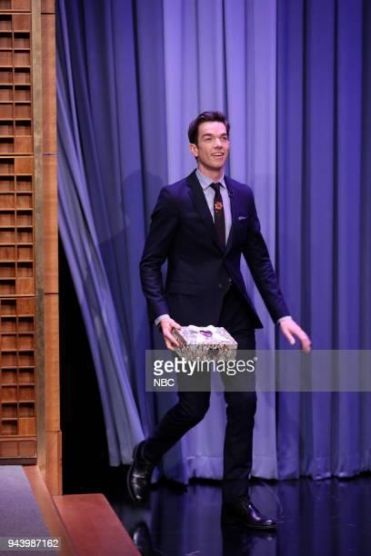 Comedian John Mulaney arrives for an interview on April 9 2018