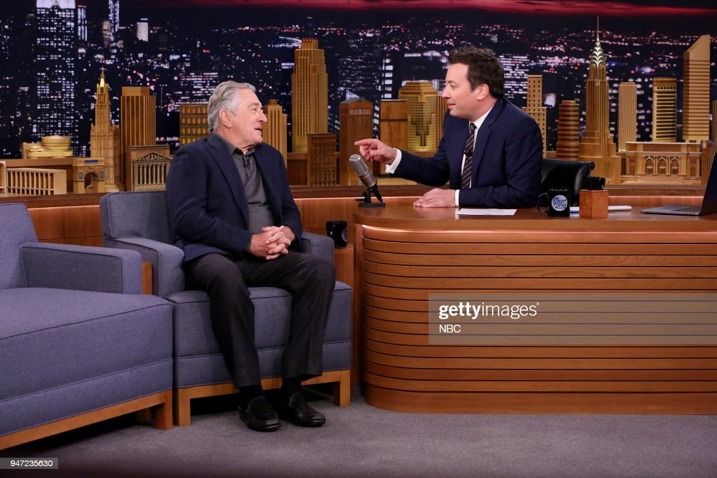 Actor Robert De Niro during an interview with host Jimmy Fallon on April 16, 2018 --